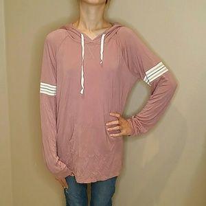 Pink Rose Lightweight Rayon Hoodie Sweatshirt XL